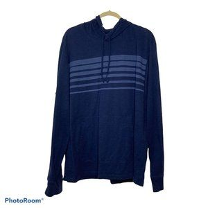Even Tide Blue Striped Pullover Hoodie XL